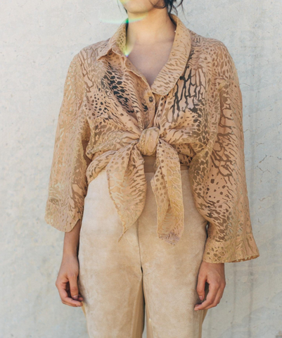 Vintage Sheer Animal Print Blouse