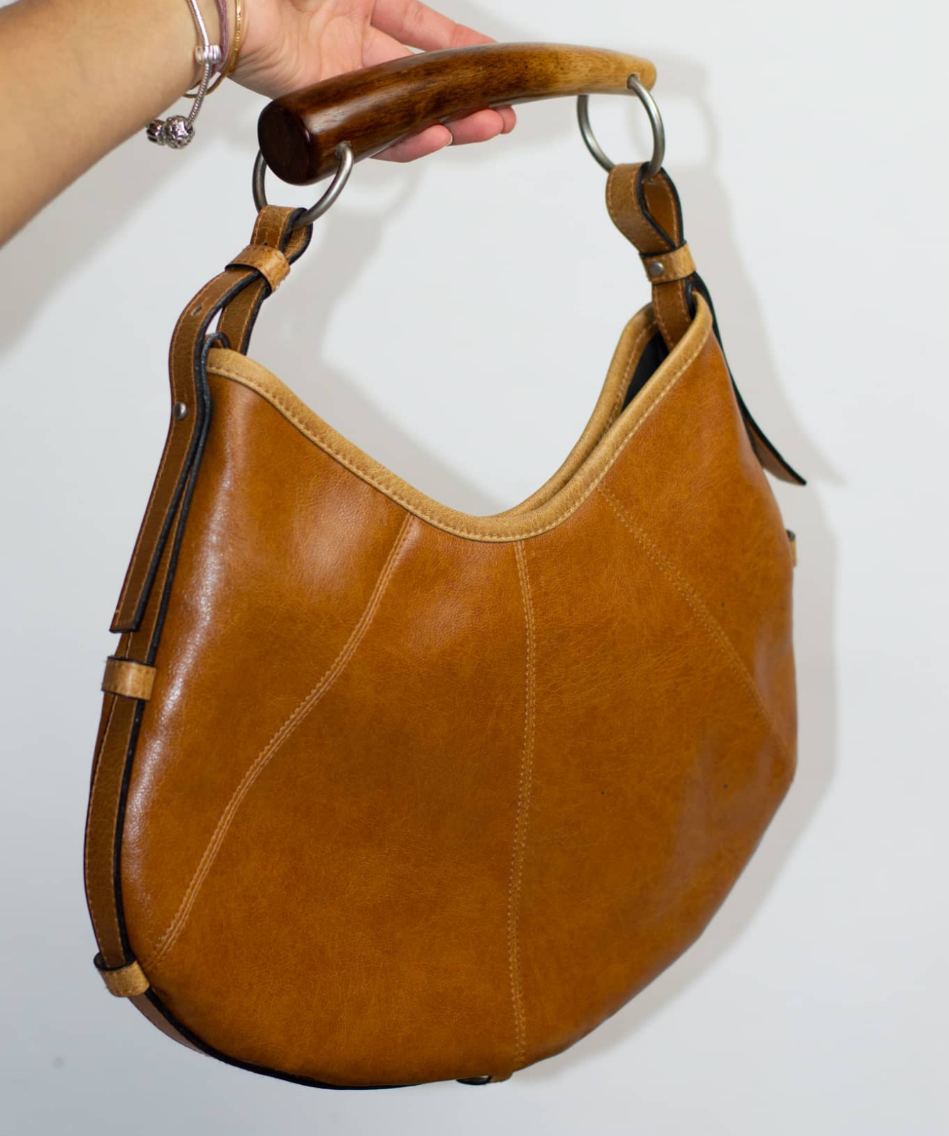 Vintage Wood Handled Leather Bag
