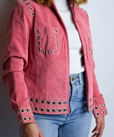 Vintage Peach Leather Jacket