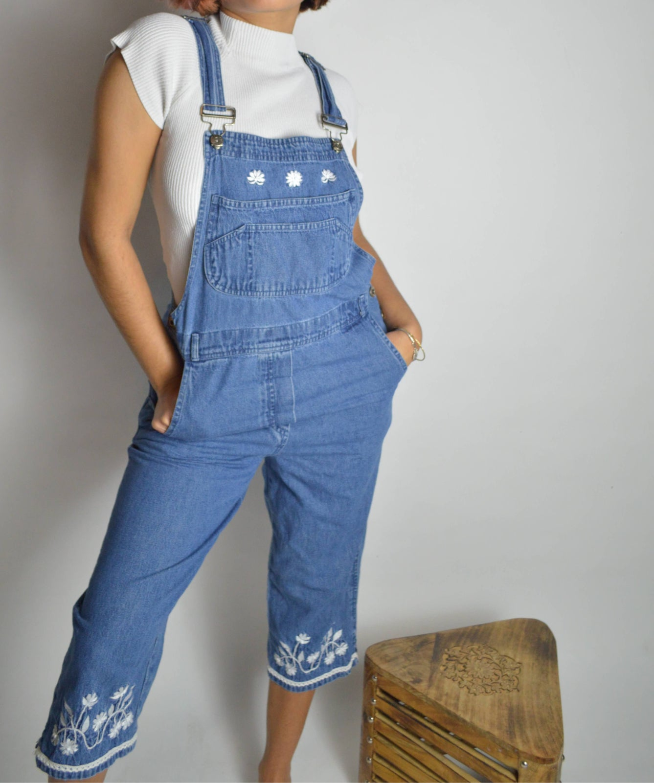 Vintage Floral Embroidered Overalls