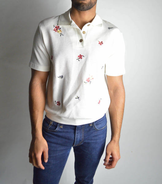 Vintage Floral Embroidered Collared Shirt
