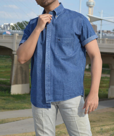 Dallas man modeling a vintage denim short sleeved button down