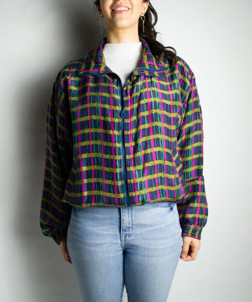 Vintage multi-colored 80s windbreaker women's and men's