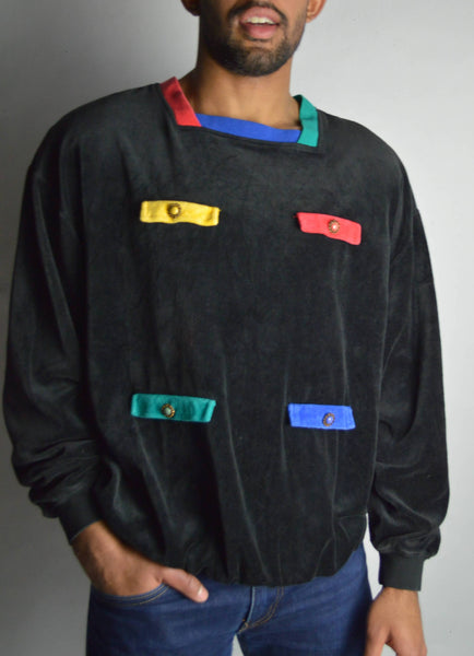 Vintage Velour Color Blocked Pullover