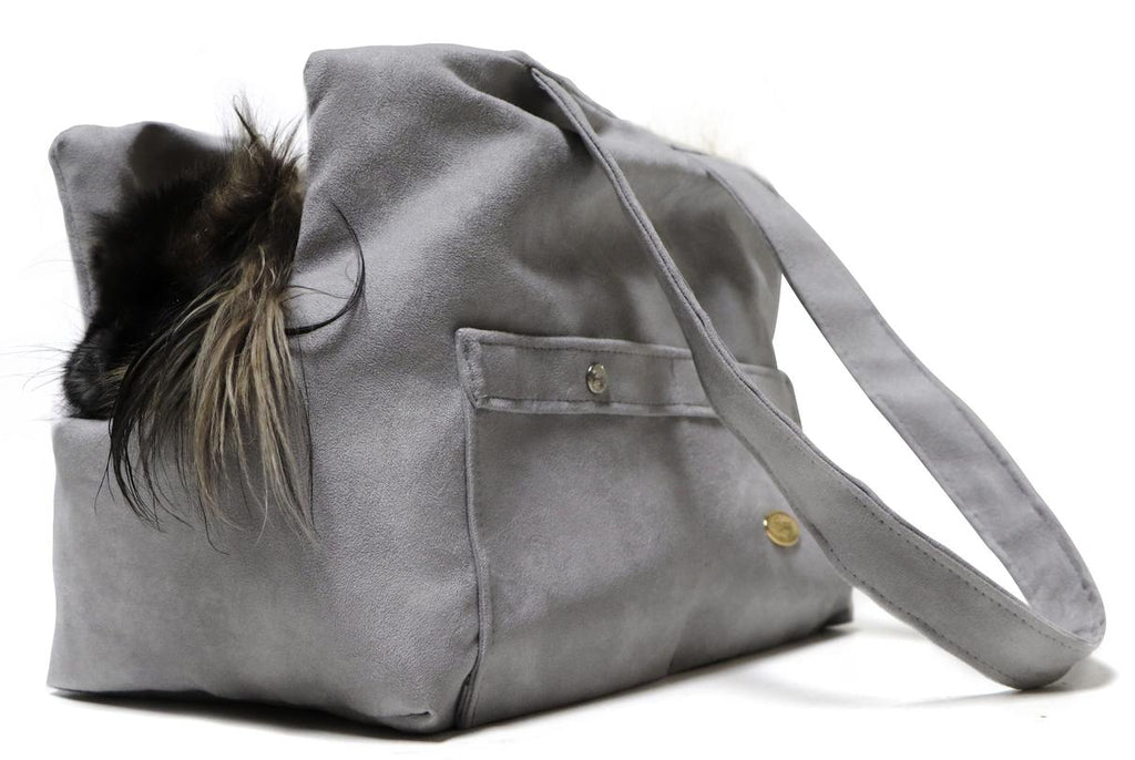 Grey Xuede reversible Dog Carrier