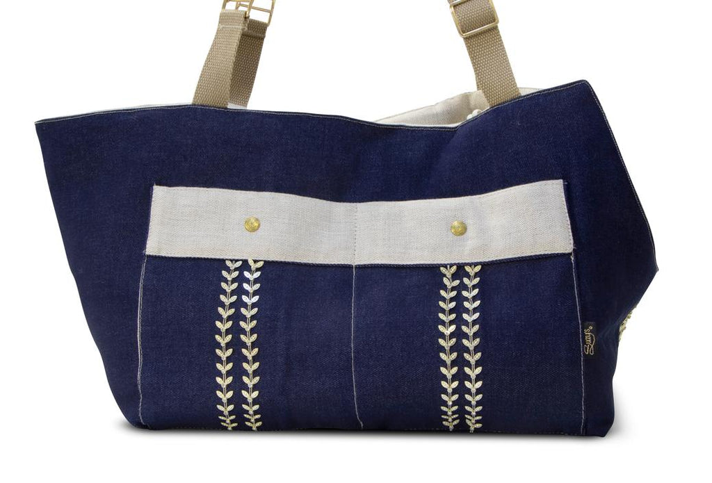 Oh! Denim Dog Handbag with Beige Linnen lining