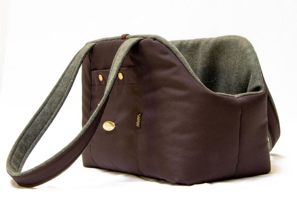 Cashmere Bear Dog Carrier, with green cashmere lining.