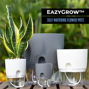 EazyGrow™ Self Watering Flower Pots - Grey / L - Sparbi.com