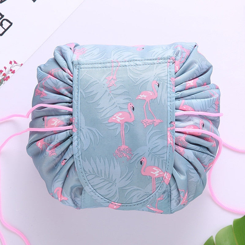 Glamoria™ Drawstring Make Up Bag - Blue Flamingo - Sparbi.com