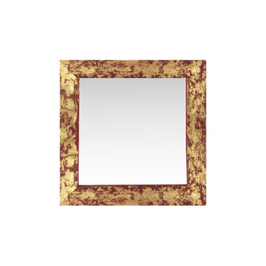 "stunning red and gold gilded barnwood mirror 18"" x 18"""