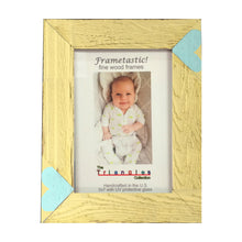 Load image into Gallery viewer, Whimsical yellow 5x7 photo frame handcrafted from reclaimed barn wood with aqua heart inserts