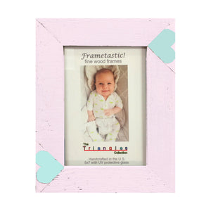 Whimsical 5x7 pink photo frame handcrafted from reclaimed barn wood with aqua heart inserts