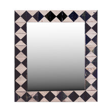 "Load image into Gallery viewer, 21"" x 24"" rustic mosaic mirror handcrafted from recycled reclaimed barnwood. Beautiful black and white diamond pattern."
