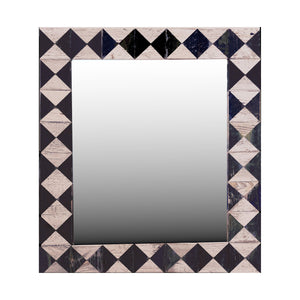 "21"" x 24"" rustic mosaic mirror handcrafted from recycled reclaimed barnwood. Beautiful black and white diamond pattern."