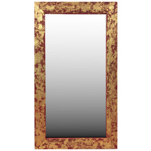 "Load image into Gallery viewer, Stunning red and gold gilded barnwood mirror 18"" x 30"""