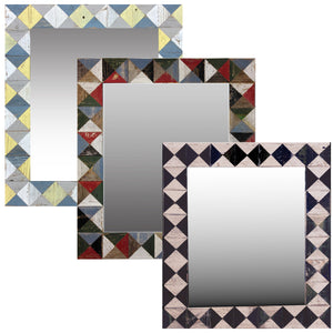 "21"" x 24"" rustic mosaic mirror handcrafted from recycled reclaimed barnwood. Three different patterns available... argyle, mosaic, and diamonds."