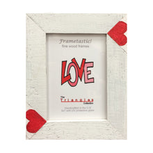 Load image into Gallery viewer, Whimsical 5x7 photo frame handcrafted from reclaimed barn wood with red heart inserts