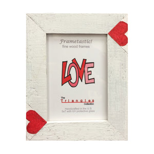 Whimsical 5x7 photo frame handcrafted from reclaimed barn wood with red heart inserts