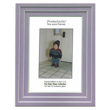 Load image into Gallery viewer, Handcrafted lavender colored photo frame with linear white accents