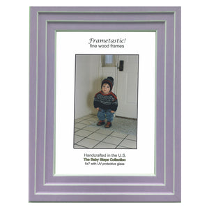 Handcrafted lavender colored photo frame with linear white accents