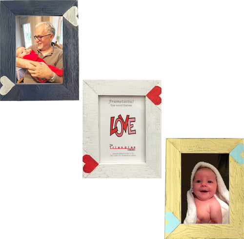 Whimsical 5x7 photo frame handcrafted from reclaimed barn wood with heart inserts