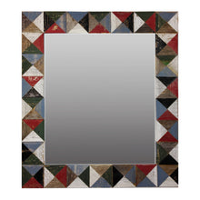 "Load image into Gallery viewer, 21"" x 24"" rustic mosaic mirror handcrafted from recycled reclaimed barnwood. Beautiful barn wood patch quilt effect"