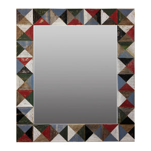 "21"" x 24"" rustic mosaic mirror handcrafted from recycled reclaimed barnwood. Beautiful barn wood patch quilt effect"