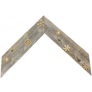 Flower Power Wall Frame, handcrafted from reclaimed barn wood and adorned with flowers. Natural barnwood with natural colored laser cut wood flowers.