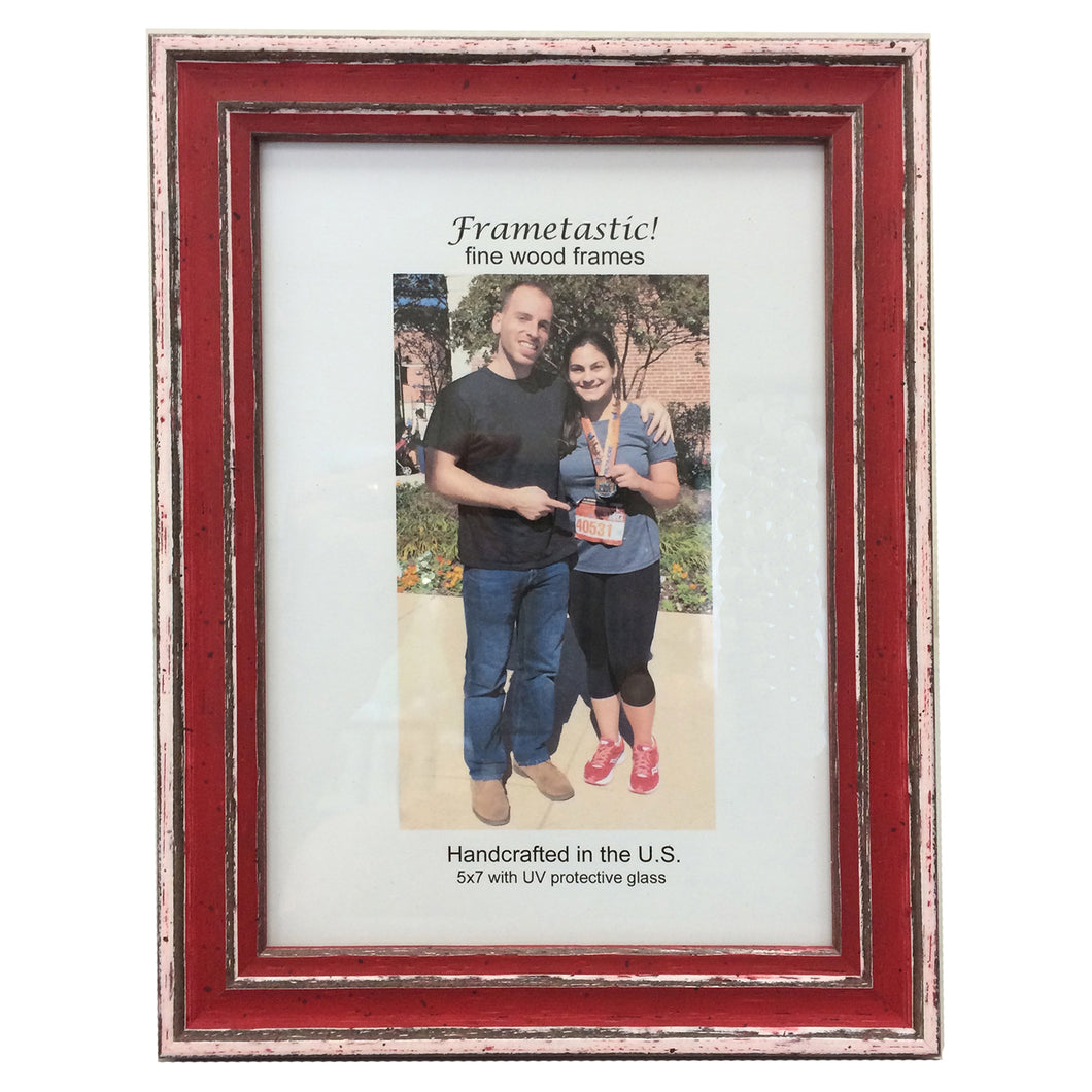 cheerful, colorful photo frames in red have a sporty, slightly rustic look