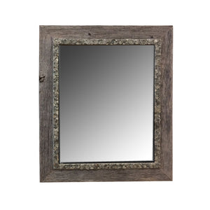 "Bring the outdoors inside with this 17"" x 20"" natural grey barn wood mirror with a grey-green pebble rock inner border."