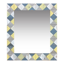"Load image into Gallery viewer, 21"" x 24"" rustic mosaic mirror handcrafted from recycled reclaimed barnwood. Beautiful argyle pattern in blue, white, grey and yellow."