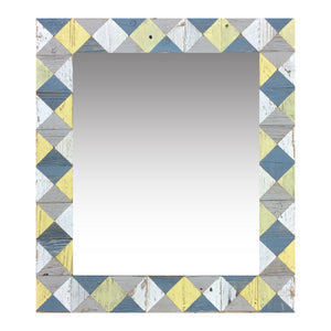 "21"" x 24"" rustic mosaic mirror handcrafted from recycled reclaimed barnwood. Beautiful argyle pattern in blue, white, grey and yellow."