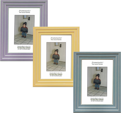 Handcrafted pastel colored photo frame with linear white accents