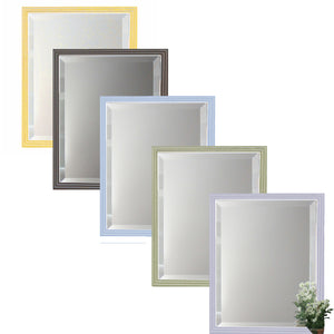 Beveled mirror with stepped moulding has clean white lines. Available in 5 soft colors: yellow, cocoa, sky, celery, and lavender