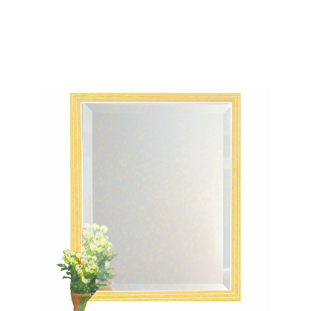 Sunshine yellow beveled mirror with stepped moulding has clean white lines