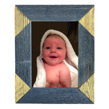 Load image into Gallery viewer, Color blocked triangle corner photo frame handcrafted from reclaimed barn wood in blue and yellow