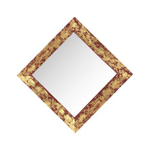 "Load image into Gallery viewer, stunning diamond shaped red and gold gilded barnwood mirror 18"" x 18"""