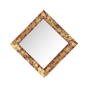 "stunning diamond shaped red and gold gilded barnwood mirror 18"" x 18"""