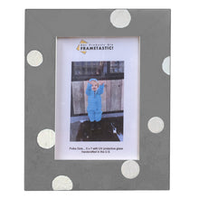 Load image into Gallery viewer, Photo frame handcrafted from reclaimed barn wood painted grey and adorned with white polka dots