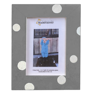 Photo frame handcrafted from reclaimed barn wood painted grey and adorned with white polka dots