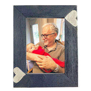 Whimsical 5x7 midnight blue photo frame handcrafted from reclaimed barn wood with silver heart inserts