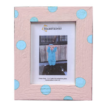 Load image into Gallery viewer, Photo frame handcrafted from reclaimed barn wood painted pink and adorned with light blue polka dots