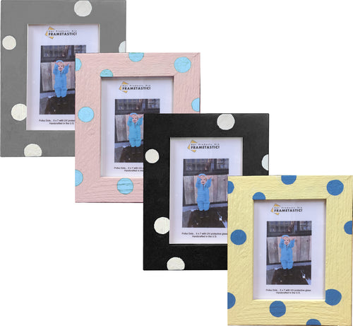 Photo frame handcrafted from reclaimed barn wood adorned with polka dots