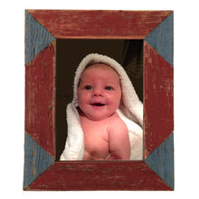 Load image into Gallery viewer, Color blocked triangle corner photo frame handcrafted from reclaimed barn wood in red and blue