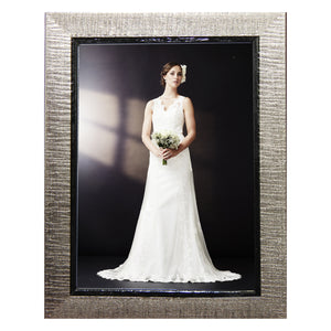 Contemporary, high style pewter colored photo frames. Great for wedding and other formal pictures