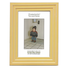 Load image into Gallery viewer, Handcrafted sunny yellow colored photo frame with linear white accents