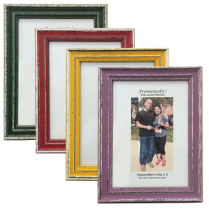 cheerful, colorful photo frames with a sporty, slightly rustic look