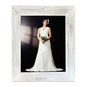 Lustrous white with silver highlights wall frame for 11 x 14 image crafted from reclaimed barn wood... this is rustic reimagined