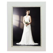 Load image into Gallery viewer, Contemporary, high style white with silver photo frames. Great for wedding and other formal pictures