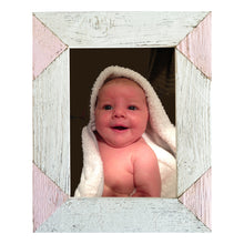 Load image into Gallery viewer, Color blocked triangle corner photo frame handcrafted from reclaimed barn wood in white and pink